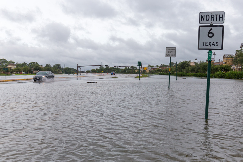 Texas Hwy. 6 near Houston with flooded roadway after Hurricane Harvey, 2018